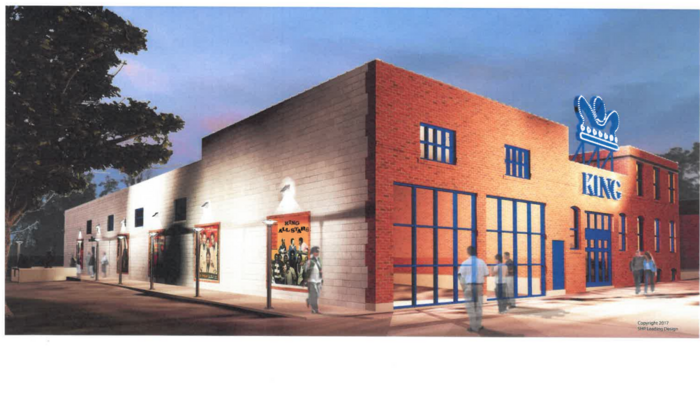A conceptual rendering of the front and side of a restored King Records complex.