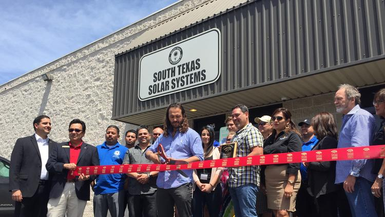 South Texas Solar Systems Managing Partner James Hiebert Cutting The Ribbon For Grande Opening Of