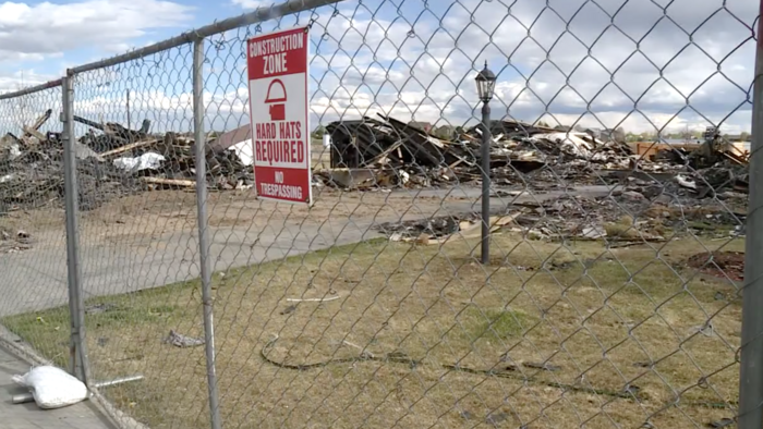 The ruins of a house destroyed by an explosion and fire in Firestone, Colorado, on April 17.