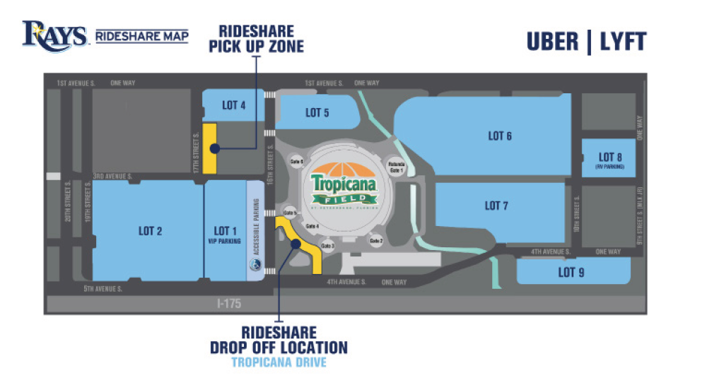 Tropicana Field Parking Map Tampa Bay Rays just made it easier to use Uber and Lyft for game