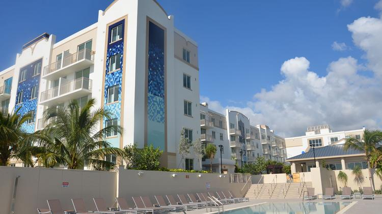 The Pool And The Miami Bay Waterfront Midtown Residences.