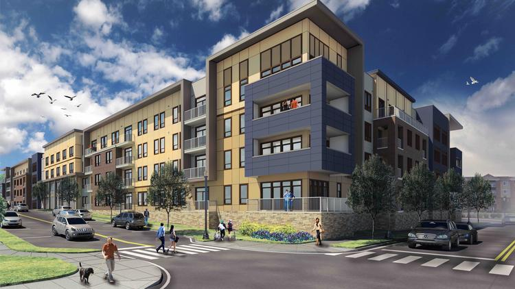 The First Phase Of Red Includes 164 Apartments Above A Parking Garage And Community S