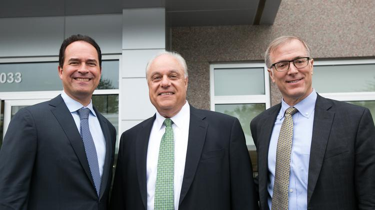 (L,R) Credit Suisse Managing Director Dan Seabolt, Site Lead Jim Captain and Wilson Ervin, vice chairman of Credit Suisse's group executive office in New York, gathered at Credit Suisse's building in Research Triangle Park on May 9, 2017, to announce the company will be creating 1,200 new jobs in the region.