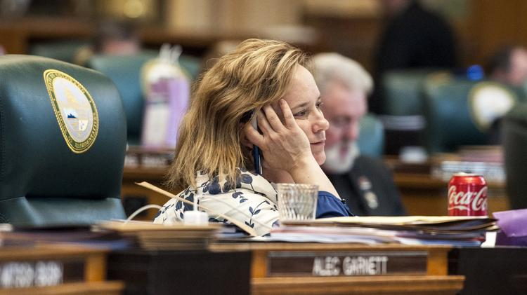 House Majority Leader K.C. Becker, D-Boulder, listens to debate on Senate Bill 267, which she co-sponsored during the final day of the 2017 legislative session Wednesday.