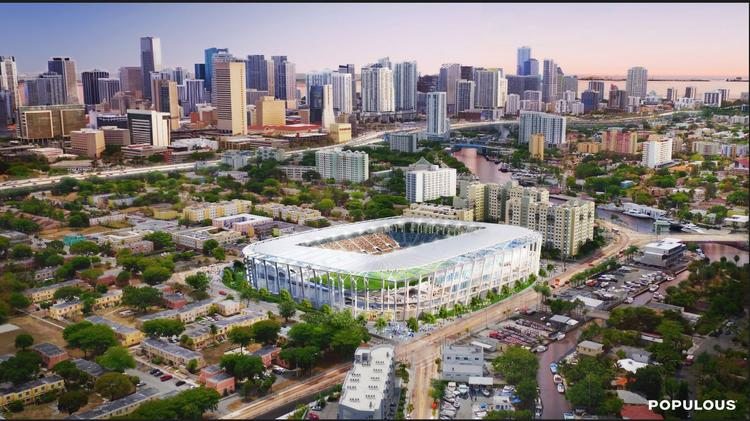 A rendering of the 25,000-square-foot MLS stadium proposed in Miami by Beckham United.