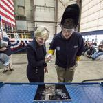 Barbara Broadhurst Taylor lays keel for USS St. Louis