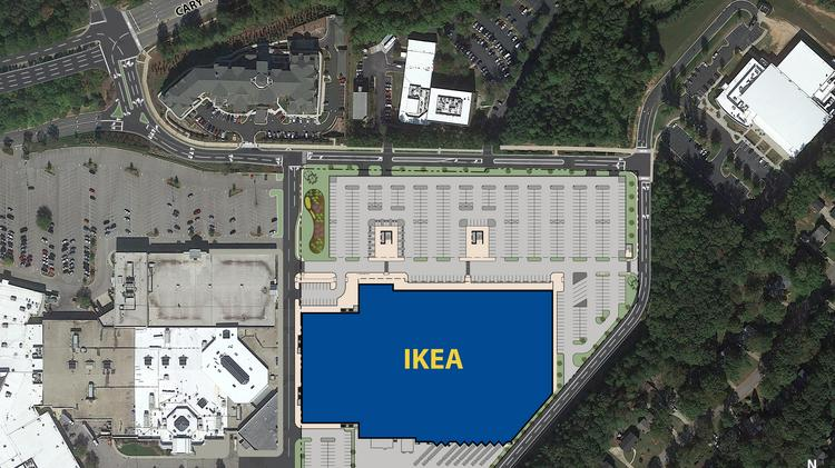 a rendering of the proposed ikea store with a twolevel parking deck at cary