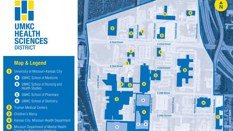 a map of the proposed umkc health sciences district shows the 10 health care entities on