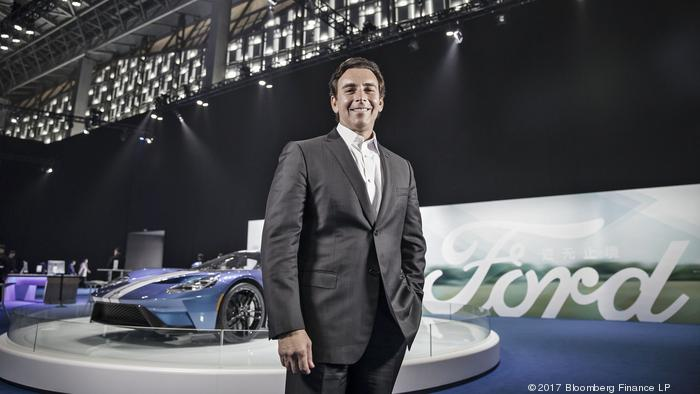 Mark Fields, president and chief executive officer of Ford Motor Co., poses for a photograph following a Bloomberg Television interview in Shanghai, China, on Saturday, April 8, 2017. Fields, in Shanghai to unveil the automaker's plans to introduce more e