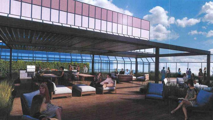 Renderings Of The Patio Show A Lounge Area With Outdoor Furniture And  Greenery Surrounded By Tall