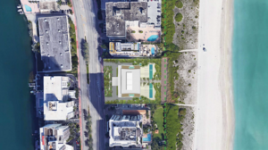 The overhead view of the condo planned at 5775 Collins Ave. in Miami Beach.