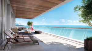 A balcony at a condo planned at 5775 Collins Ave. in Miami Beach.