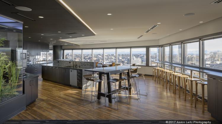 Jll employees enjoy a café style break room
