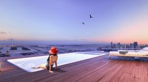 The private rooftop pool in the Aria on the Bay penthouse purchased by Giancarlo Stanton.