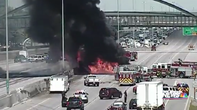 Tanker fire prompts extended closure on I-25 in Denver Tech