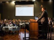 Beacon Economics Founding Partner Christopher Thornberg addresses attendees at the San Jose State University Economic Summit on June 1 in the Diaz Compean Student Union Ballroom.