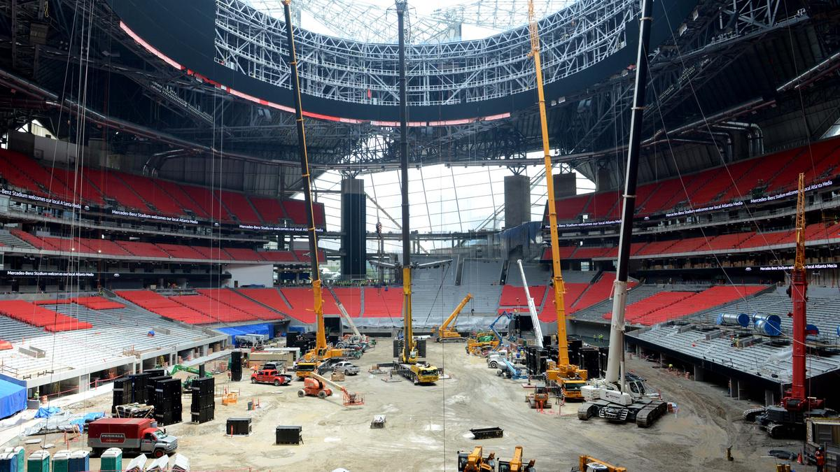Construction On Mercedes Benz Stadium Nears Completion