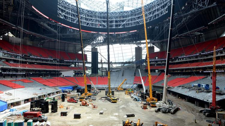 Construction on mercedes benz stadium nears completion for Mercedes benz stadium application