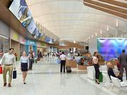 A rendering of the secured area of DIA's Great Hall, post-renovation, showing passengers that have already passed through security screening enjoying shops, sofas and an open atmosphere prior to heading for their flights. This is the area currently taken up by the security screening lines.