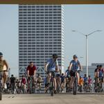 A view of UPAF's Ride for the Arts from the Hoan Bridge: Slideshow