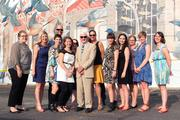 The ArtWorks staff with John Ruthven, from left to right: Colleen O'Connor, Teresa Hoelle, Marie Krulewitch-Browne, David Heyburn, Elishia Candelares, Patty Lee, John Ruthven, Tamara Harkavy, Rosie Kovacs, Colleen Houston,Francesca Peace, Sarah Corlett and Katie Labmeier.