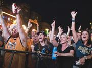 Watching the game from Broadway, fans reacts to the Predators regaining a lead with goal in the second period of Game 4 of the Stanley Cup Final.