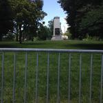 Barricades placed around Confederate Memorial in Forest Park