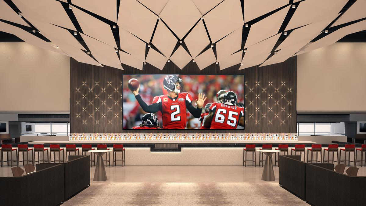 First look inside the mercedes benz club amg lounge at for Hotel near mercedes benz stadium atlanta