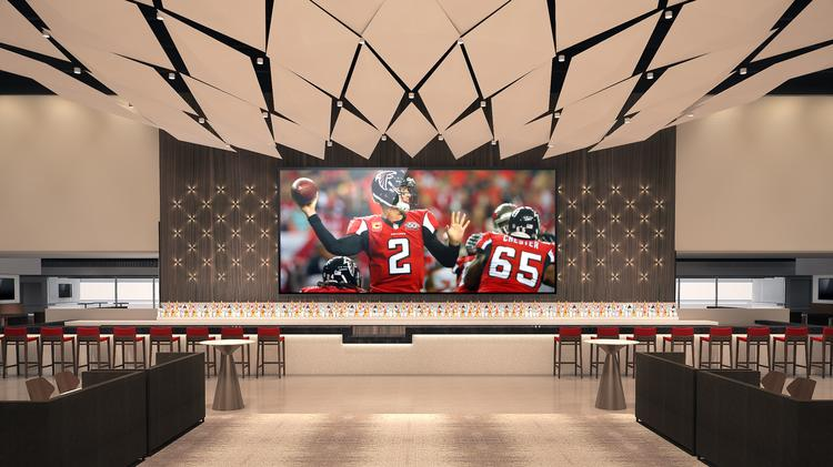 First look inside the mercedes benz club amg lounge at for Mercedes benz superdome suites