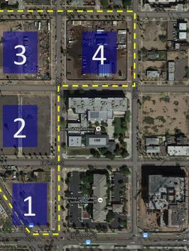 ASU plans to develop these seven acres north of the Phoenix Biomedical Campus in downtown Phoenix. The existing adjacent properties include a bioscience high school, hotel and cancer center.