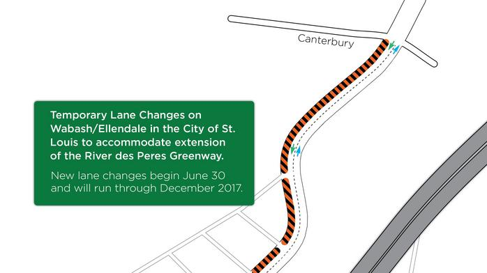 Continued construction of $4.4 million River Des Peres Greenway results in new lane changes