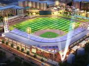 A preliminary rendering of a 5,000-seat baseball stadium in downtown High Point.