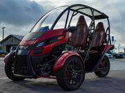 Arcimoto's SRK has a top speed of 80 mph, allowing for freeway use, according to the company. Driving range for the SRK is 70 miles with a 12 kilowatt-hour battery pack and 130 miles with a 20 kilowatt-hour pack.