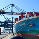 Largest containership to enter Florida port stopped at Jaxport