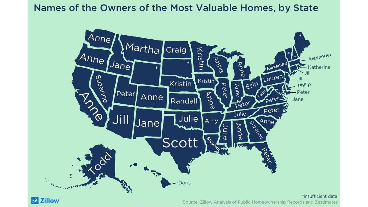 zillow chart*1200xx1400 788 0 106 Most Popular Names Of Homeowners By State