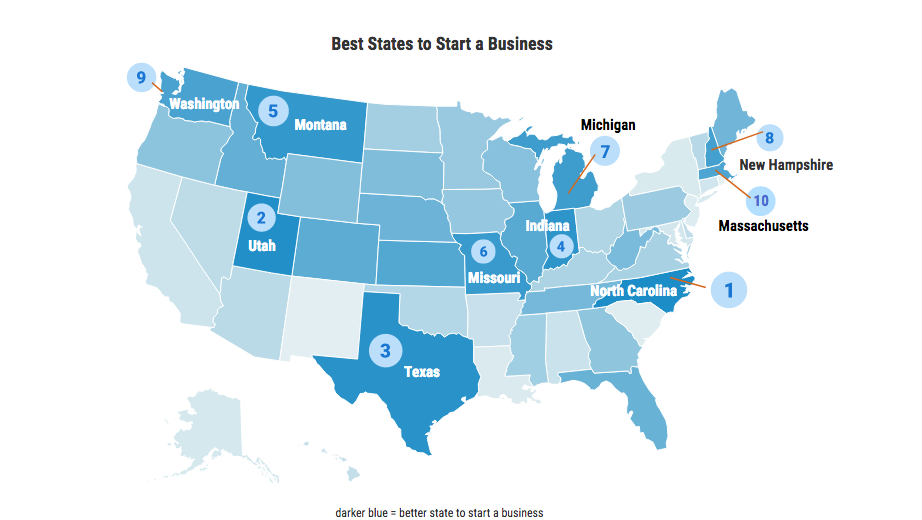 WalletHub FitSmallBusiness Find Md Among Worst States To Start A - Best areas to start a business us map