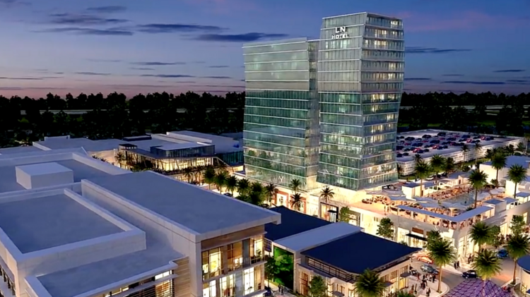 Rendering of proposed Lake Nona hotel shown in fly-through animation.