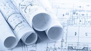 Construction blueprints stock art
