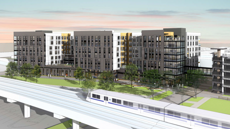A rendering of a proposed 197-unit apartment project next to San Leandro BART station.