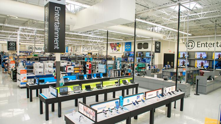 the remodeled electronics department features clean easy to read displays