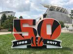 See where Cincinnati Bengals are placing 1,000-pound sculptures to mark 50th season