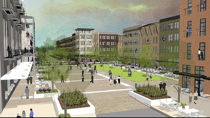Rendering of what new private investment could look like as part of New Braunfels' downtown urban development plan.