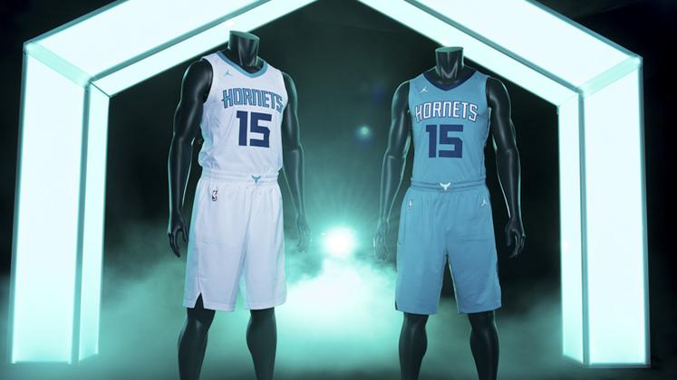 e26793ceb67 The Charlotte Hornets unveiled new uniforms this summer featuring the  Jordan Brand logo, a nod