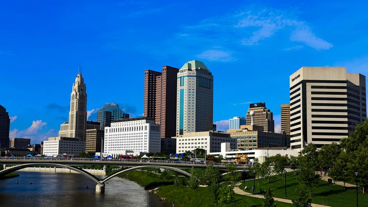 The Columbus Skyline Along The Scioto River.