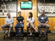 The Washington's Best Workplaces event kicked off with a CEO symposium in the visitors' clubhouse at Safeco Field. Panelist included (left to right): Jeff Lyon, Kidder Mathews CEO; David Niu, TINYpulse CEO; Shauna Swerland, Fuel Talent CEO; and Benson Porter BECU CEO.