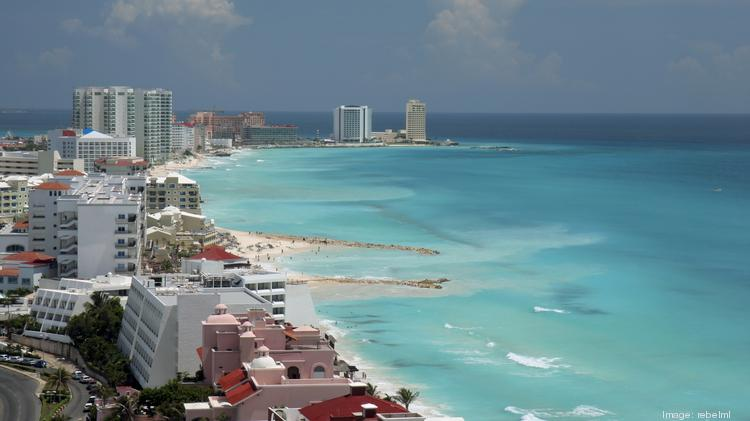 Cancun aerial view of beach and resorts