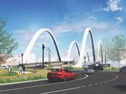 Rendering of the approach to the new Frederick Douglass Bridge.