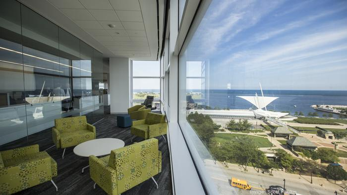 Conference rooms for employees were created along the windows, in this case facing southeast along Milwaukee's lakefront.