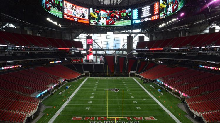 ATLANTA, GA - AUGUST 26: A general view of Mercedes-Benz Stadium prior