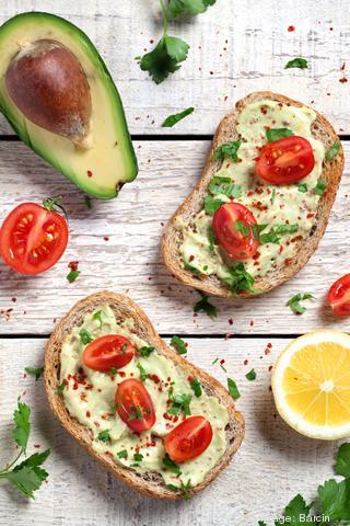 Healthy whole grain bread with avocado